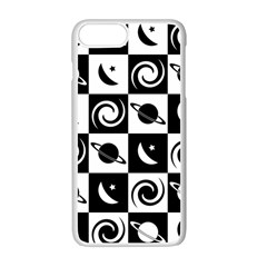 Space Month Saturnus Planet Star Hole Black White Apple iPhone 7 Plus White Seamless Case