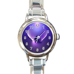 Space Galaxy Purple Blue Line Round Italian Charm Watch
