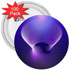 Space Galaxy Purple Blue Line 3  Buttons (100 pack)