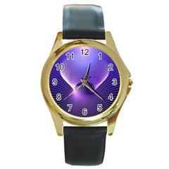 Space Galaxy Purple Blue Line Round Gold Metal Watch