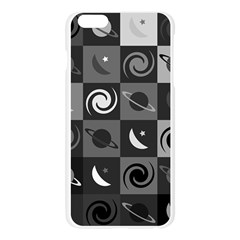Space Month Saturnus Planet Star Hole Black White Grey Apple Seamless iPhone 6 Plus/6S Plus Case (Transparent)