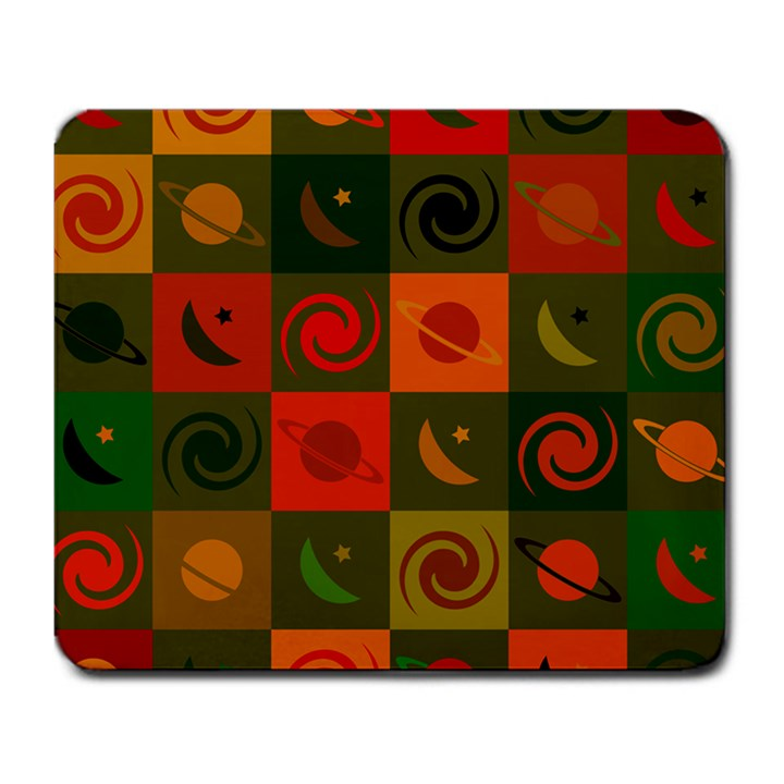 Space Month Saturnus Planet Star Hole Black White Multicolour Orange Large Mousepads
