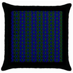 Split Diamond Blue Green Woven Fabric Throw Pillow Case (Black) Front