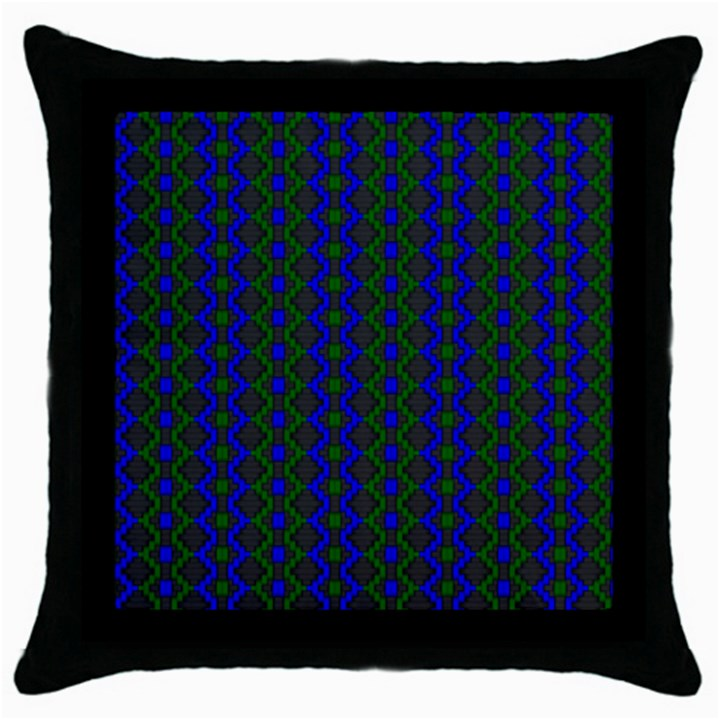 Split Diamond Blue Green Woven Fabric Throw Pillow Case (Black)