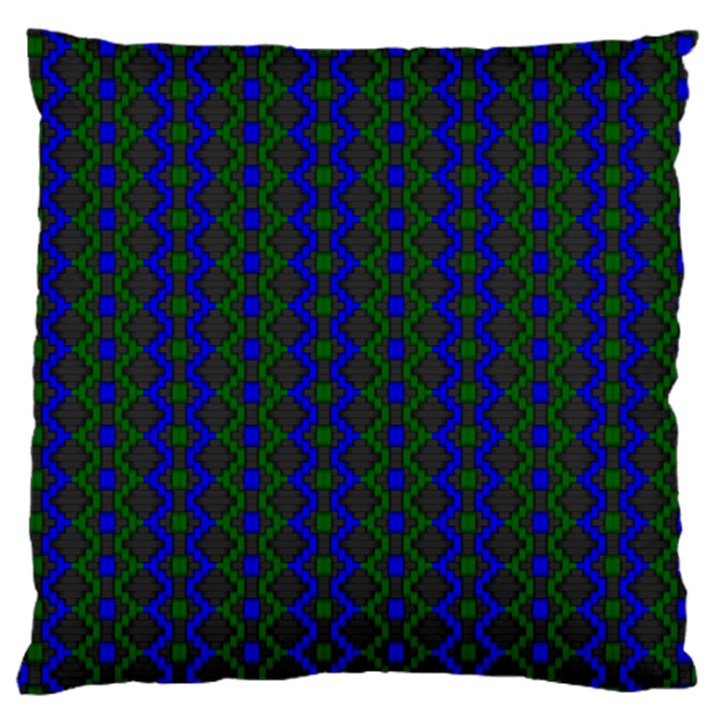 Split Diamond Blue Green Woven Fabric Large Cushion Case (Two Sides)