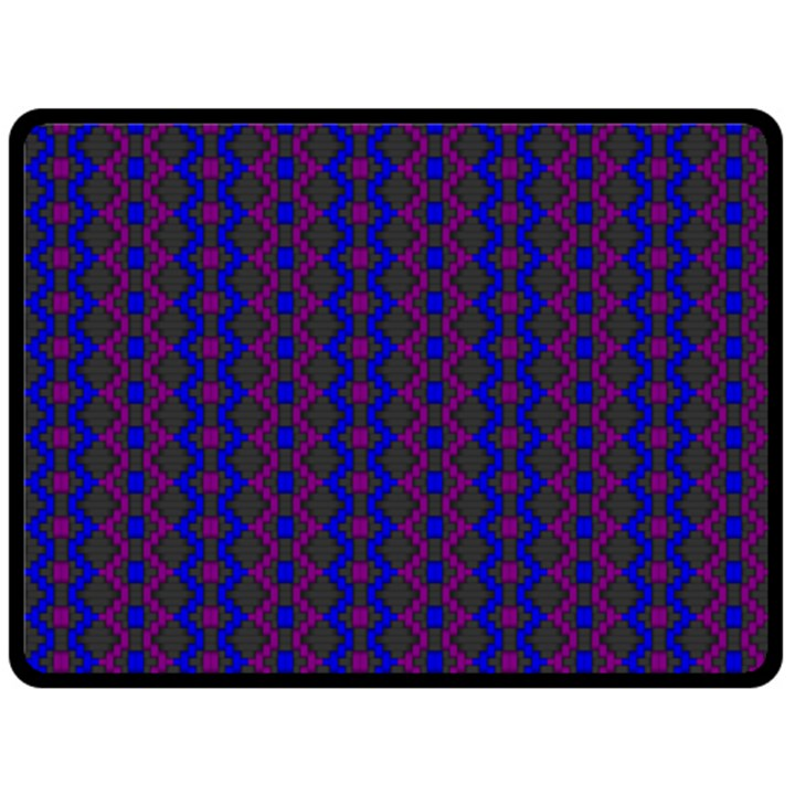 Split Diamond Blue Purple Woven Fabric Double Sided Fleece Blanket (Large)