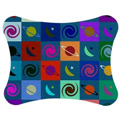 Space Month Saturnus Planet Star Hole Multicolor Jigsaw Puzzle Photo Stand (Bow)