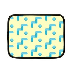 Squiggly Dot Pattern Blue Yellow Circle Netbook Case (small)