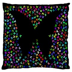 Space Butterflies Large Flano Cushion Case (one Side)