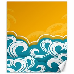 Summer Sea Water Wave Tree Yellow Blue Canvas 8  X 10