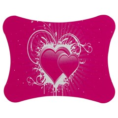 Valentine Floral Heart Pink Jigsaw Puzzle Photo Stand (Bow)