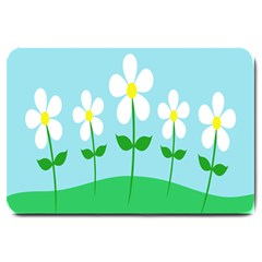 Flower Floral Blue Sky Green Leaf Large Doormat