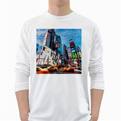 New York City White Long Sleeve T Shirts