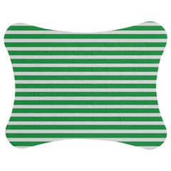Horizontal Stripes Green Jigsaw Puzzle Photo Stand (Bow)
