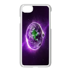 Purple Space Planet Earth Apple Iphone 7 Seamless Case (white)
