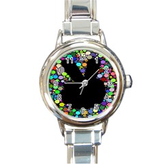 Prismatic Negative Space Comic Peace Hand Circles Round Italian Charm Watch