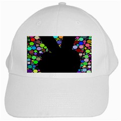 Prismatic Negative Space Comic Peace Hand Circles White Cap