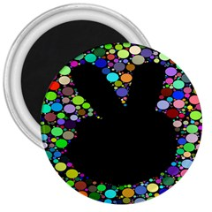Prismatic Negative Space Comic Peace Hand Circles 3  Magnets