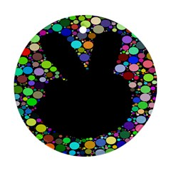 Prismatic Negative Space Comic Peace Hand Circles Ornament (Round)