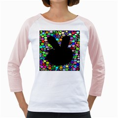 Prismatic Negative Space Comic Peace Hand Circles Girly Raglans