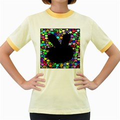 Prismatic Negative Space Comic Peace Hand Circles Women s Fitted Ringer T-Shirts