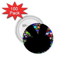 Prismatic Negative Space Comic Peace Hand Circles 1.75  Buttons (100 pack)