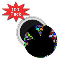 Prismatic Negative Space Comic Peace Hand Circles 1.75  Magnets (100 pack)