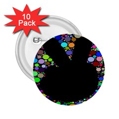 Prismatic Negative Space Comic Peace Hand Circles 2.25  Buttons (10 pack)