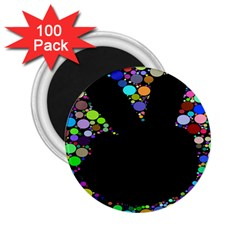 Prismatic Negative Space Comic Peace Hand Circles 2.25  Magnets (100 pack)