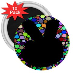 Prismatic Negative Space Comic Peace Hand Circles 3  Magnets (10 pack)