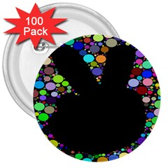 Prismatic Negative Space Comic Peace Hand Circles 3  Buttons (100 pack)