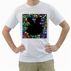 Prismatic Negative Space Comic Peace Hand Circles Men s T-Shirt (White) (Two Sided)