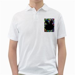 Prismatic Negative Space Comic Peace Hand Circles Golf Shirts