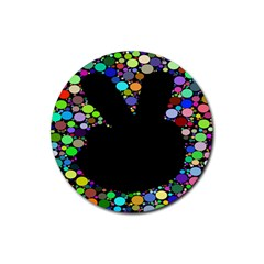 Prismatic Negative Space Comic Peace Hand Circles Rubber Round Coaster (4 pack)