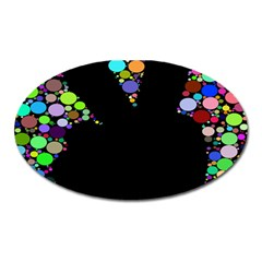 Prismatic Negative Space Comic Peace Hand Circles Oval Magnet