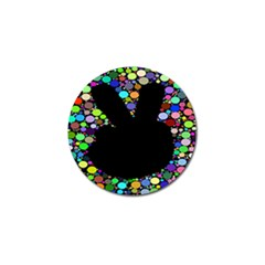 Prismatic Negative Space Comic Peace Hand Circles Golf Ball Marker
