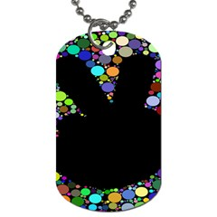 Prismatic Negative Space Comic Peace Hand Circles Dog Tag (Two Sides)