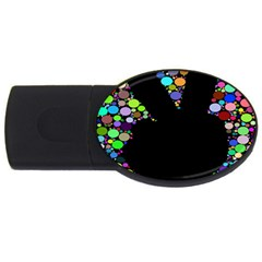 Prismatic Negative Space Comic Peace Hand Circles USB Flash Drive Oval (2 GB)