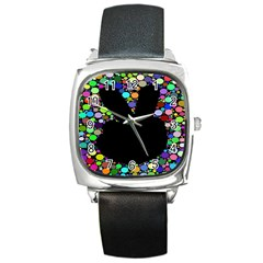 Prismatic Negative Space Comic Peace Hand Circles Square Metal Watch