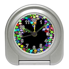 Prismatic Negative Space Comic Peace Hand Circles Travel Alarm Clocks