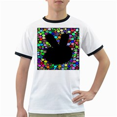 Prismatic Negative Space Comic Peace Hand Circles Ringer T-Shirts