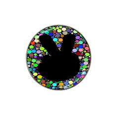Prismatic Negative Space Comic Peace Hand Circles Hat Clip Ball Marker (4 pack)