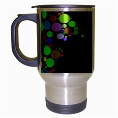 Prismatic Negative Space Comic Peace Hand Circles Travel Mug (Silver Gray)