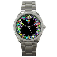 Prismatic Negative Space Comic Peace Hand Circles Sport Metal Watch