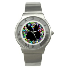 Prismatic Negative Space Comic Peace Hand Circles Stainless Steel Watch