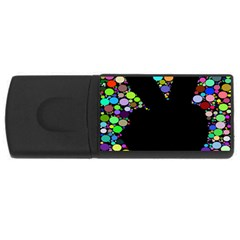 Prismatic Negative Space Comic Peace Hand Circles USB Flash Drive Rectangular (4 GB)