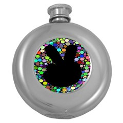 Prismatic Negative Space Comic Peace Hand Circles Round Hip Flask (5 oz)