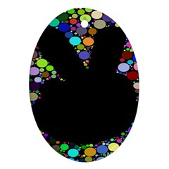 Prismatic Negative Space Comic Peace Hand Circles Oval Ornament (Two Sides)