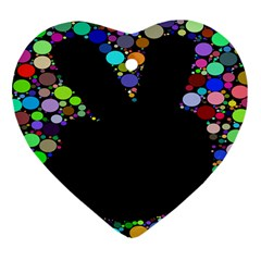 Prismatic Negative Space Comic Peace Hand Circles Heart Ornament (Two Sides)