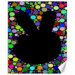 Prismatic Negative Space Comic Peace Hand Circles Canvas 16  x 20